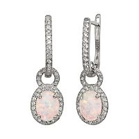 Sterling Silver Lab-Created Opal & Lab-Created White Sapphire Oval Halo Drop Earrings