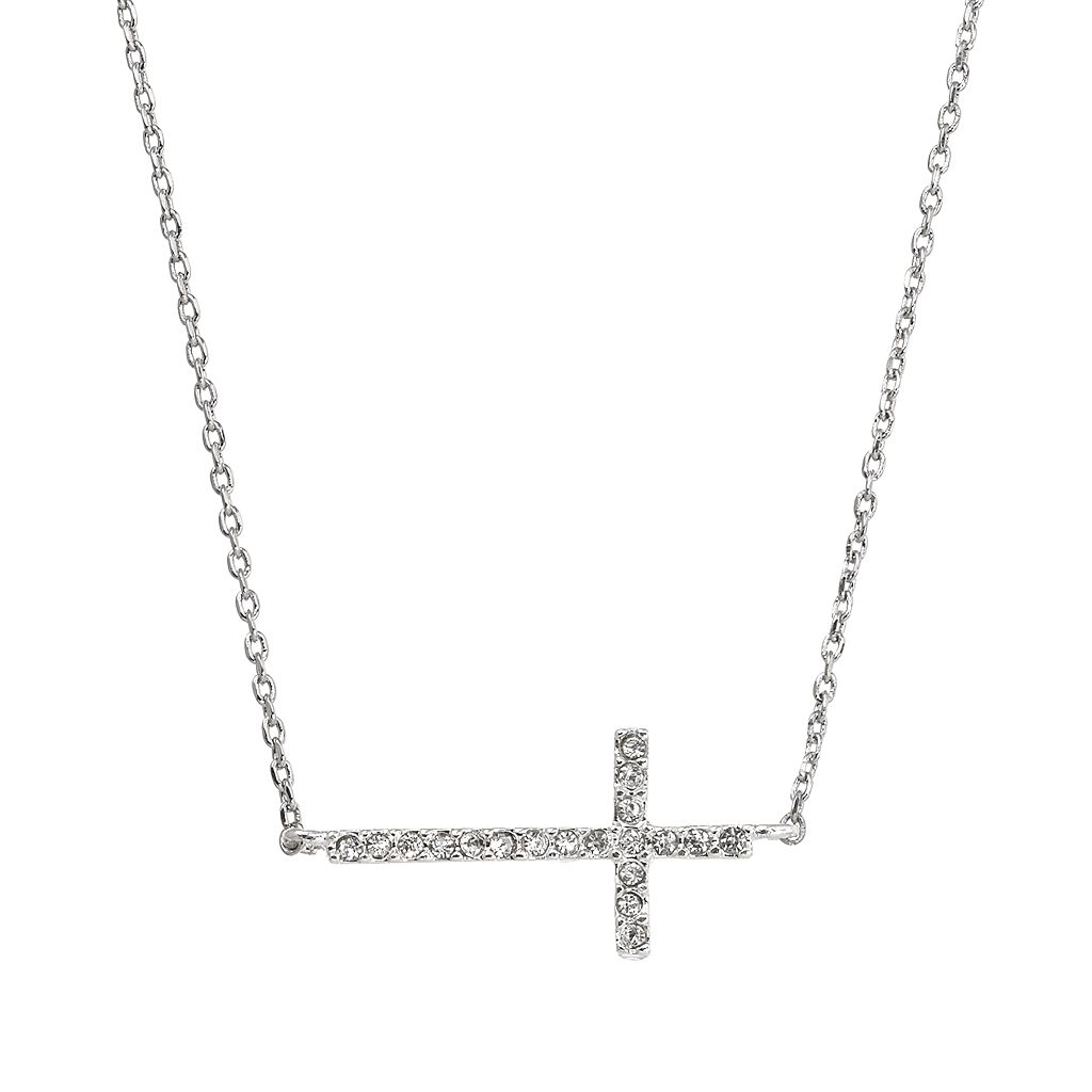 Simulated Crystal Sideways Cross Necklace