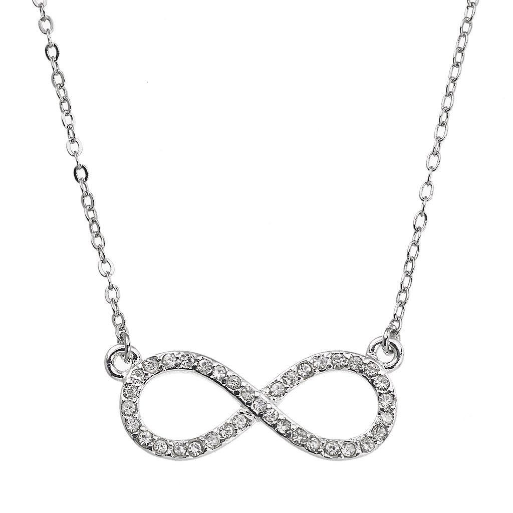 Silver Tone Simulated Crystal Infinity Necklace