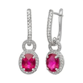 Sterling Silver Lab-Created Ruby and Lab-Created White Sapphire Oval Halo Drop Earrings