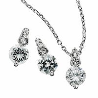 Silver Tone Simulated Crystal Circle Pendant & Drop Earring Set