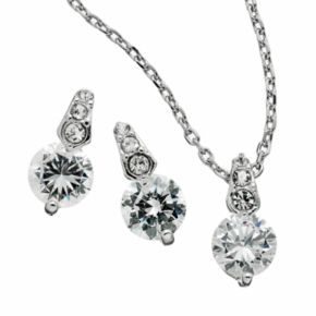 Silver Tone Simulated Crystal Circle Pendant and Drop Earring Set