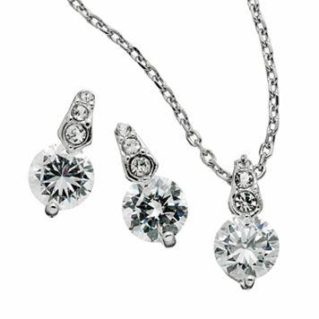 Silver Tone Simulated Crystal Circle Pendant & Drop Earring Set