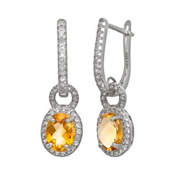 Sterling Silver Citrine & Lab-Created White Sapphire Oval Halo Drop Earrings