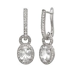 Sterling Silver Lab-Created White Sapphire Oval Halo Drop Earrings