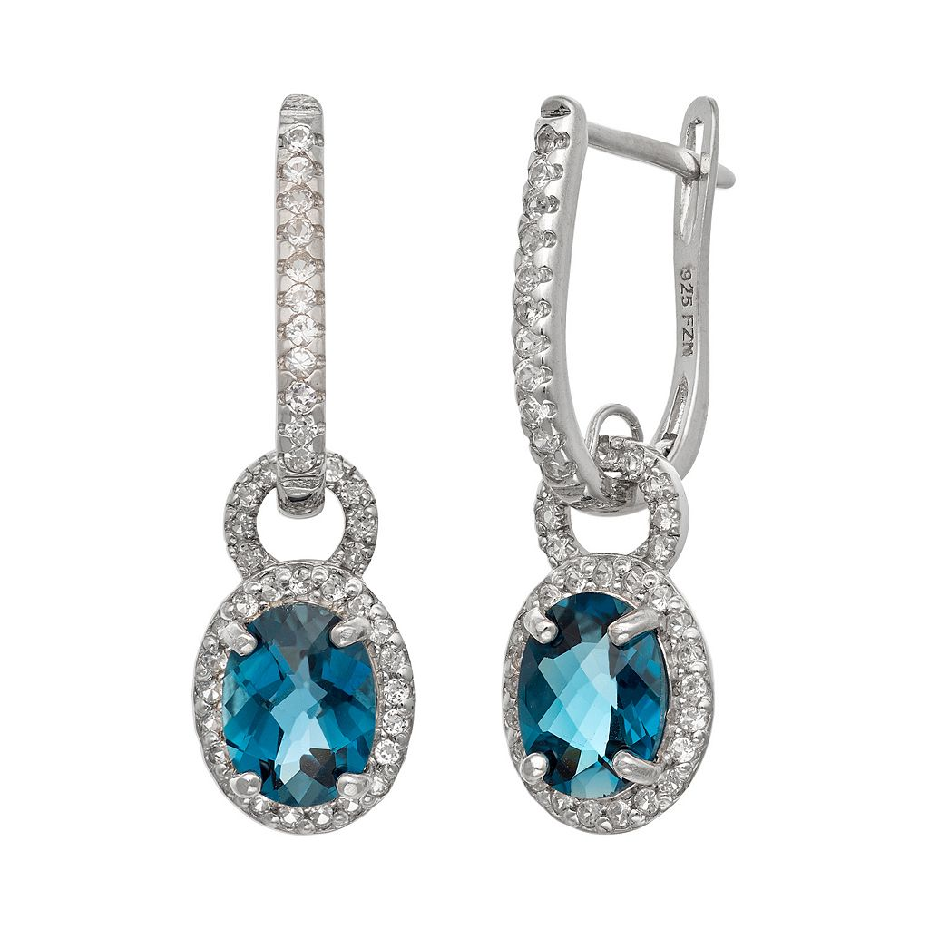 Sterling Silver London Blue Topaz & Lab-Created White Sapphire Oval Halo Drop Earrings