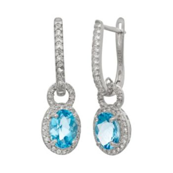 Sterling Silver Swiss Blue Topaz and Lab-Created White Sapphire Oval Halo Drop Earrings