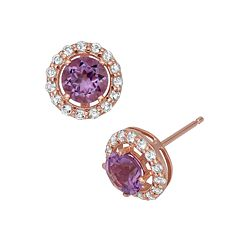 Amethyst & Lab-Created White Sapphire 14k Rose Gold Over Silver Halo Stud Earrings