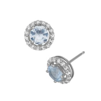 Lab-Created Aquamarine and Lab-Created White Sapphire Sterling Silver Halo Stud Earrings