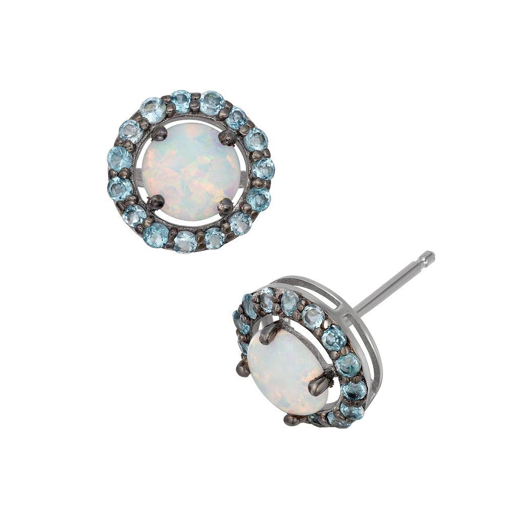 Lab-Created Opal & Swiss Blue Topaz Sterling Silver Halo Stud Earrings