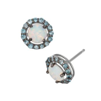 Lab-Created Opal and Swiss Blue Topaz Sterling Silver Halo Stud Earrings