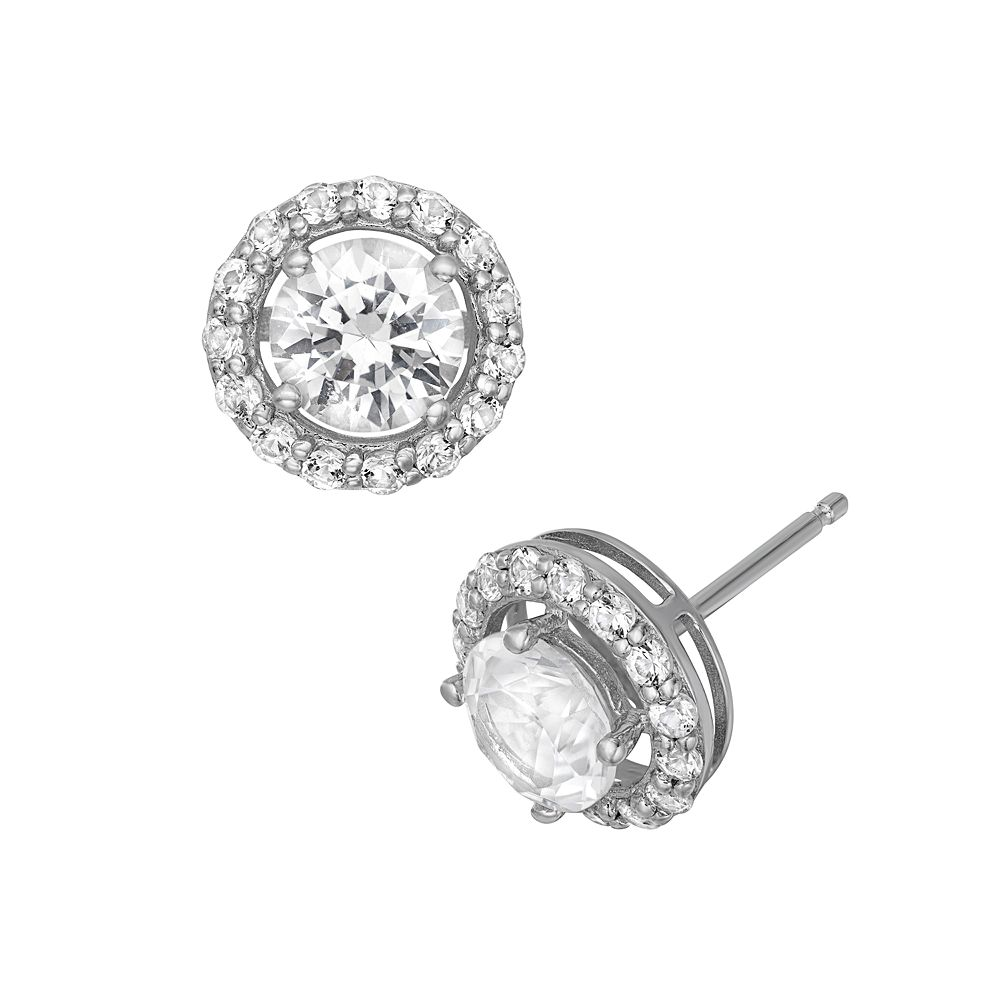 Lab-Created White Sapphire Sterling Silver Halo Stud Earrings