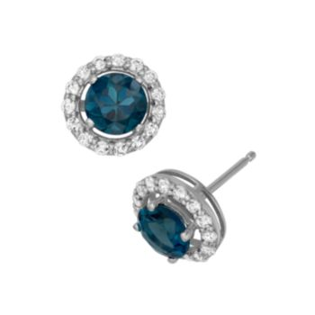 London Blue Topaz and Lab-Created White Sapphire Sterling Silver Halo Stud Earrings