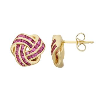 Lab-Created Ruby 14k Gold Over Silver Love Knot Stud Earrings