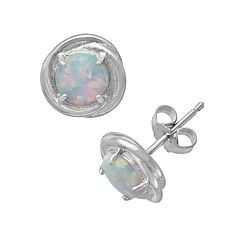 Sterling Silver Lab-Created Opal Swirl Stud Earrings