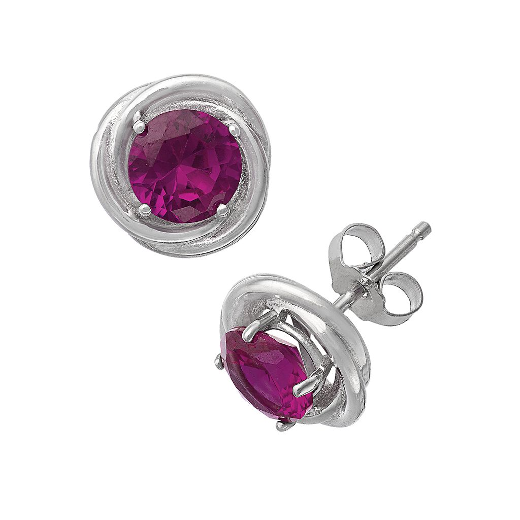Sterling Silver Lab-Created Ruby Swirl Stud Earrings