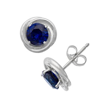 Sterling Silver Lab-Created Sapphire Swirl Stud Earrings