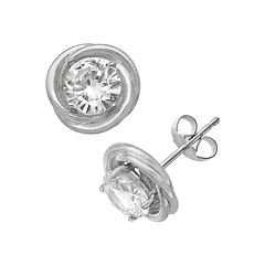 Sterling Silver Lab-Created White Sapphire Swirl Stud Earrings