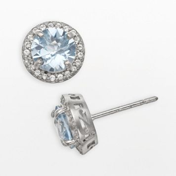 Sterling Silver Lab-Created Aquamarine & Lab-Created White Sapphire Halo Stud Earrings