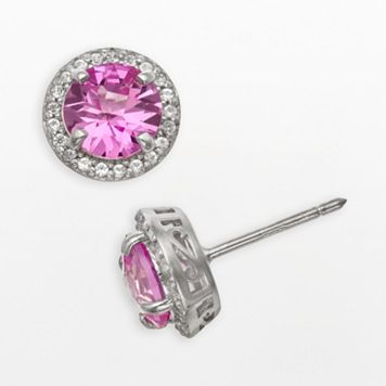 Sterling Silver Lab-Created Pink Sapphire & Lab-Created White Sapphire Halo Stud Earrings