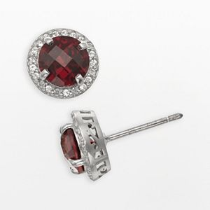 Sterling Silver Garnet and Lab-Created White Sapphire Halo Stud Earrings