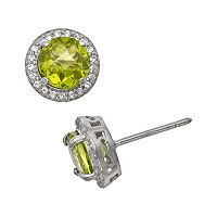 Sterling Silver Peridot & Lab-Created White Sapphire Halo Stud Earrings