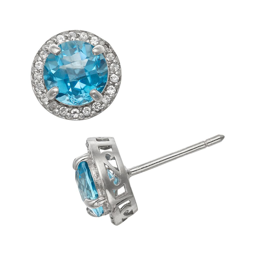 Sterling Silver Swiss Blue Topaz & Lab-Created White Sapphire Halo Stud Earrings
