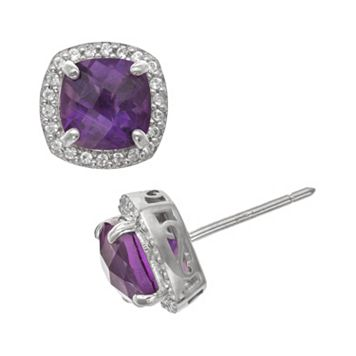 Sterling Silver Amethyst & Lab-Created White Sapphire Halo Stud Earrings
