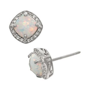 Sterling Silver Lab-Created Opal & Lab-Created White Sapphire Halo Stud Earrings