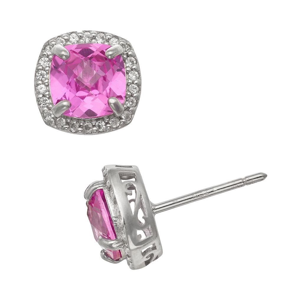 Sterling Silver Lab-Created Pink & White Sapphire Halo Stud Earrings