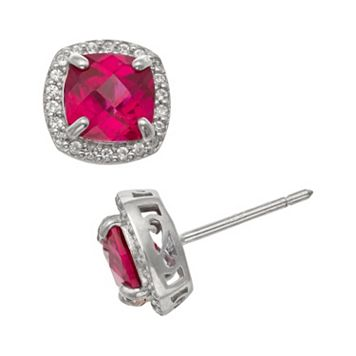 Sterling Silver Lab-Created Ruby & Lab-Created White Sapphire Halo Stud Earrings