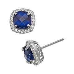 Sterling Silver Lab-Created Blue & White Sapphire Halo Stud Earrings