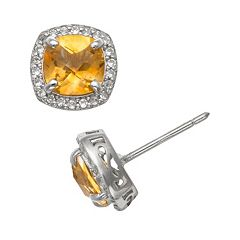Sterling Silver Citrine & Lab-Created White Sapphire Halo Stud Earrings