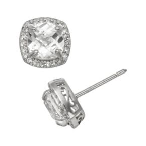 Sterling Silver Lab-Created White Sapphire Halo Stud Earrings