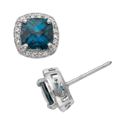 Sterling Silver London Blue Topaz and Lab-Created White Sapphire Halo Stud Earrings