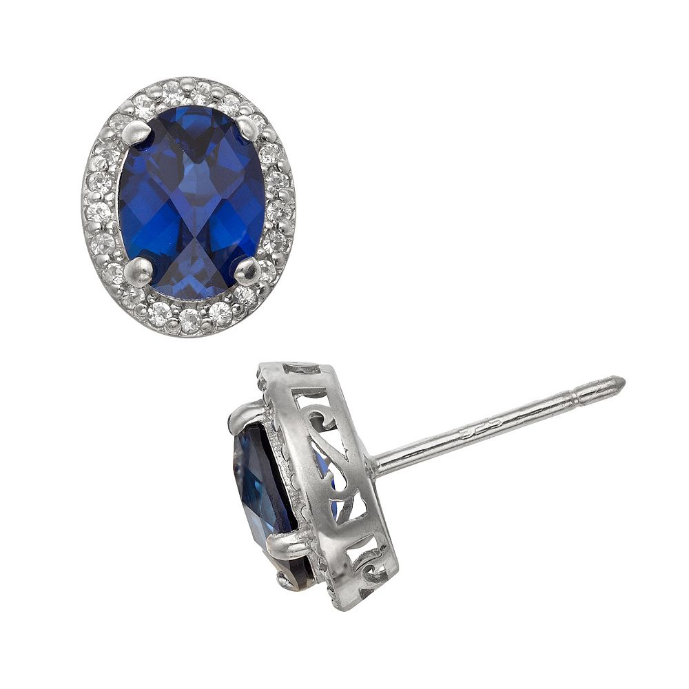 Sterling Silver Lab-Created Sapphire & Lab-Created White Sapphire Halo Stud Earrings