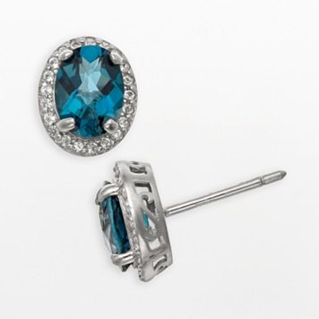 Sterling Silver London Blue Topaz & Lab-Created White Sapphire Halo Stud Earrings