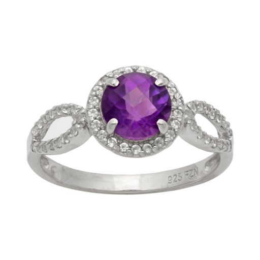 Sterling Silver Amethyst and Lab-Created White Sapphire Halo Ring