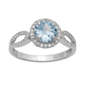Sterling Silver Lab-Created Aquamarine and Lab-Created White Sapphire Halo Ring