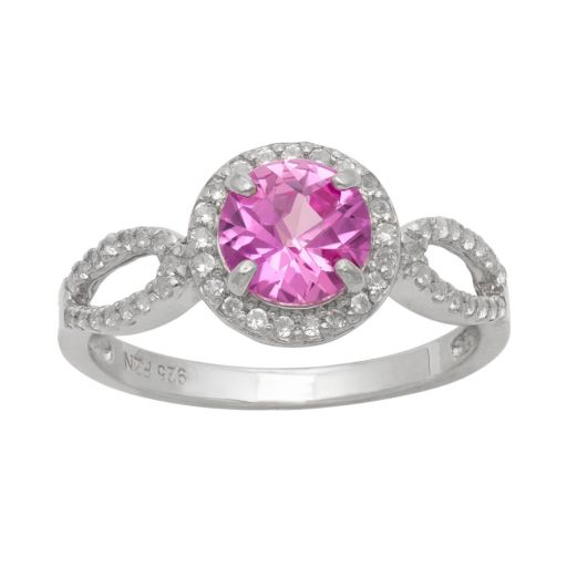 Sterling Silver Lab-Created Pink Sapphire and Lab-Created White Sapphire Halo Ring