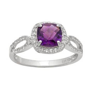 Sterling Silver Amethyst & Lab-Created White Sapphire Halo Ring