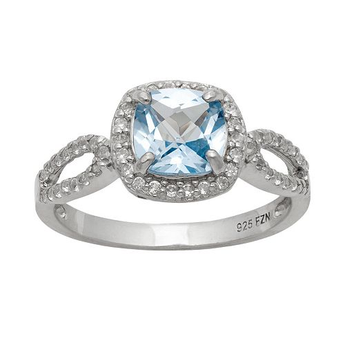 Sterling Silver Lab-Created Aquamarine & Lab-Created White Sapphire Halo Ring