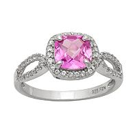 Sterling Silver Lab-Created Pink Sapphire & Lab-Created White Sapphire Halo Ring