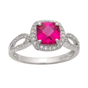 Sterling Silver Lab-Created Ruby & Lab-Created White Sapphire Halo Ring