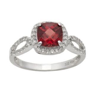 Sterling Silver Garnet and Lab-Created White Sapphire Halo Ring