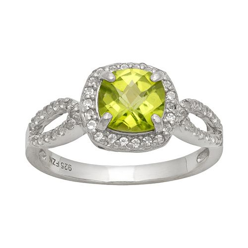 Sterling Silver Peridot & Lab-Created White Sapphire Halo Ring