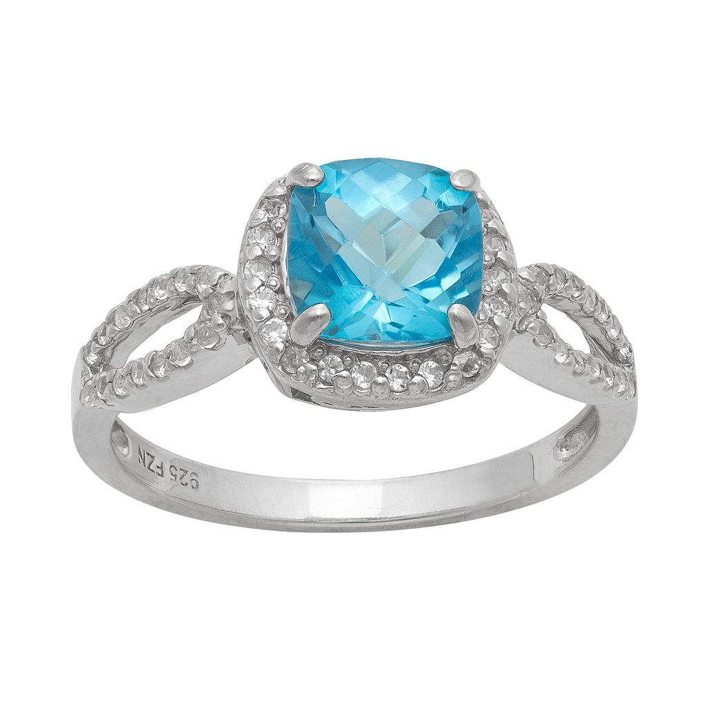 Sterling Silver Swiss Blue Topaz & Lab-Created White Sapphire Halo Ring