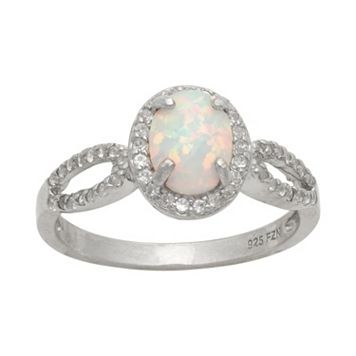 Sterling Silver Lab-Created Opal & Lab-Created White Sapphire Halo Ring