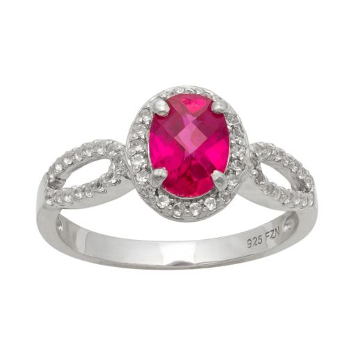 Sterling Silver Lab-Created Ruby and Lab-Created White Sapphire Halo Ring