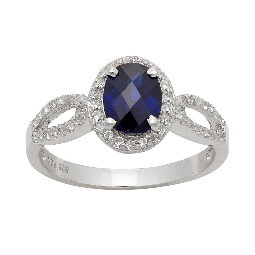 Sterling Silver Lab-Created Sapphire & Lab-Created White Sapphire Halo Ring